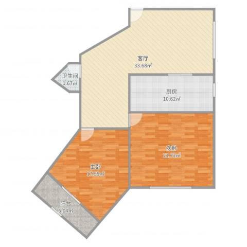 华山花苑2室1厅1卫1厨113.00㎡户型图