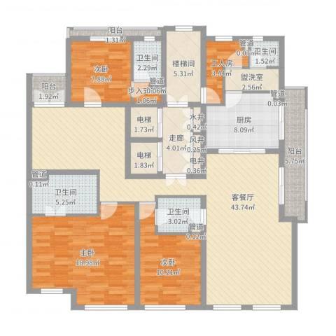 华丽家族古北花园3室2厅4卫1厨164.00㎡户型图