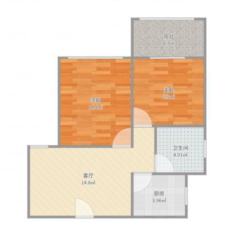 虹园六村2室1厅1卫1厨60.00㎡户型图