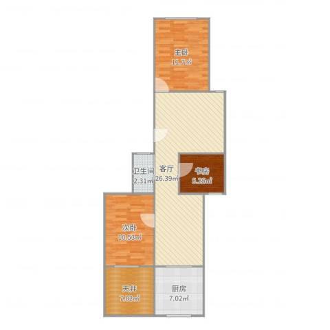 虹园六村3室1厅1卫1厨88.00㎡户型图