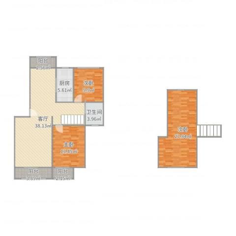叠翠苑3室1厅1卫1厨134.00㎡户型图
