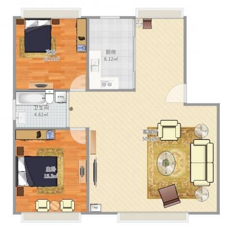 叠翠苑2室2厅1卫1厨115.00㎡户型图
