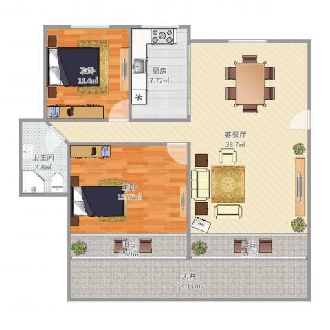 叠翠苑2室2厅1卫1厨124.00㎡户型图
