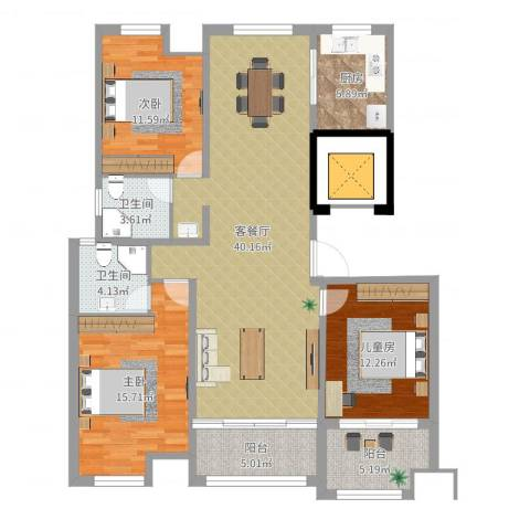 天瑞绿洲3室2厅2卫1厨129.00㎡户型图
