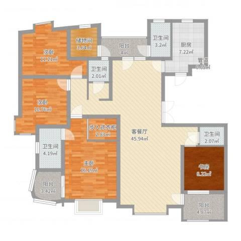 鼎鑫名流苑4室2厅4卫1厨162.00㎡户型图