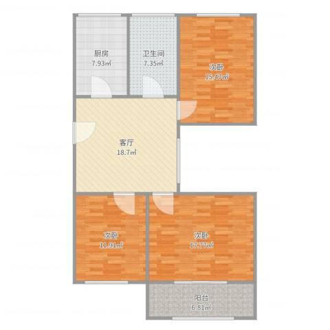 东波苑3室1厅1卫1厨107.00㎡户型图