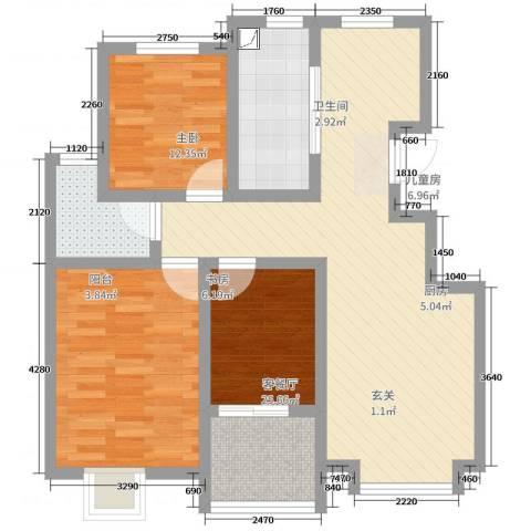 扬子新苑3室2厅1卫1厨108.00㎡户型图