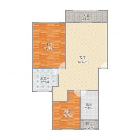 东方滨港园2室1厅1卫1厨126.00㎡户型图
