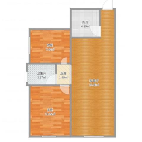 仙洞山庄2室2厅1卫1厨71.00㎡户型图