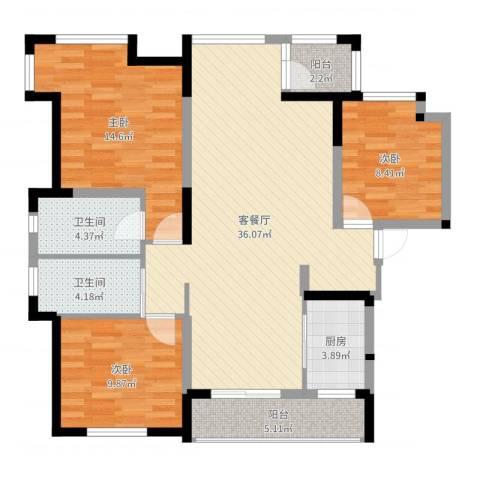 荣盛香堤荣府3室2厅2卫1厨111.00㎡户型图