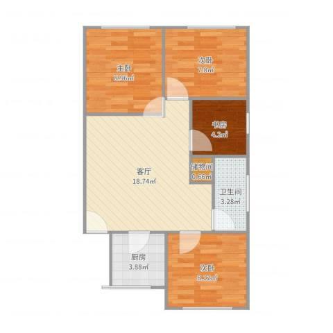 芳秀公寓4室1厅1卫1厨70.00㎡户型图