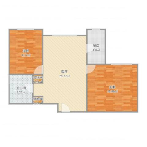 芳秀公寓2室1厅1卫1厨86.00㎡户型图