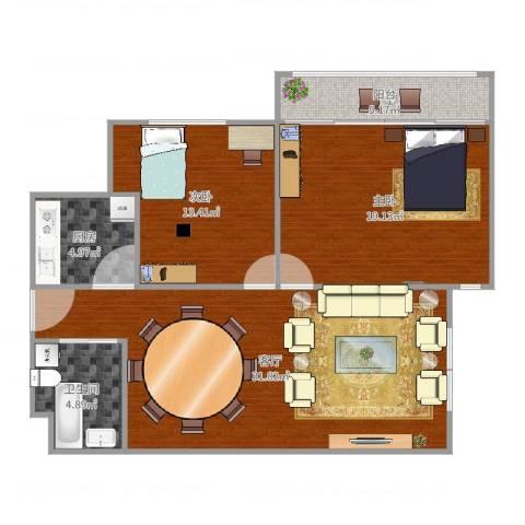东镇小区2室1厅1卫1厨99.00㎡户型图