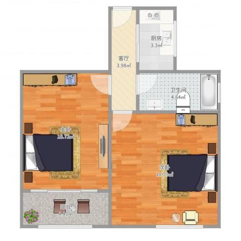 番禺路295弄小区2室1厅1卫1厨64.00㎡户型图