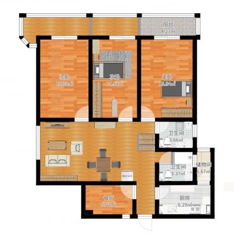 番禺大厦3室1厅2卫1厨141.00㎡户型图