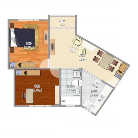 东湖小区2室1厅1卫1厨67.00㎡户型图