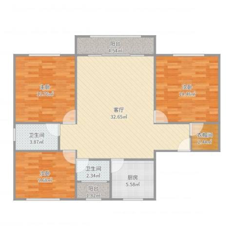 帝豪苑3室1厅2卫1厨114.00㎡户型图