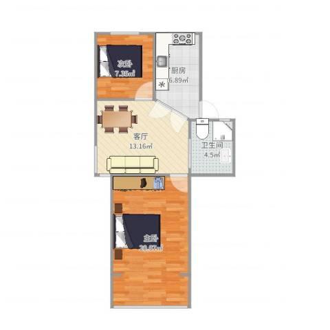 翠春小区2室1厅1卫1厨65.00㎡户型图