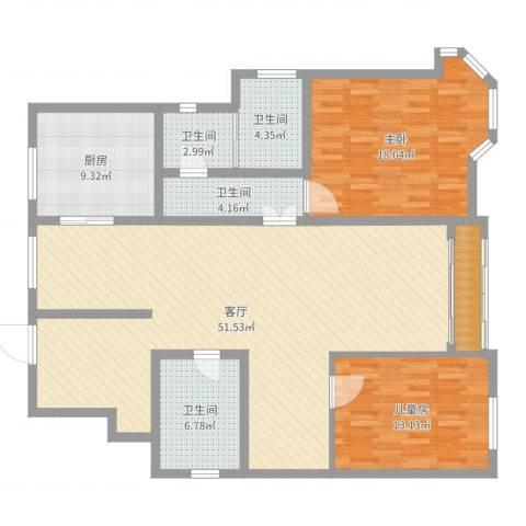 万悦城2室1厅4卫1厨141.00㎡户型图
