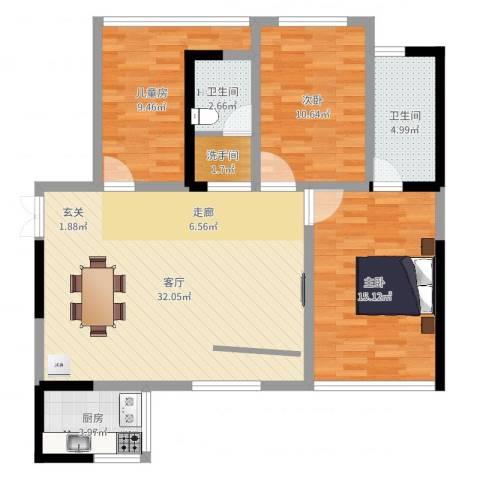 CROSS尚公馆3室1厅2卫1厨101.00㎡户型图