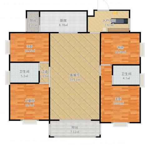 兴豪门4室2厅2卫1厨157.00㎡户型图