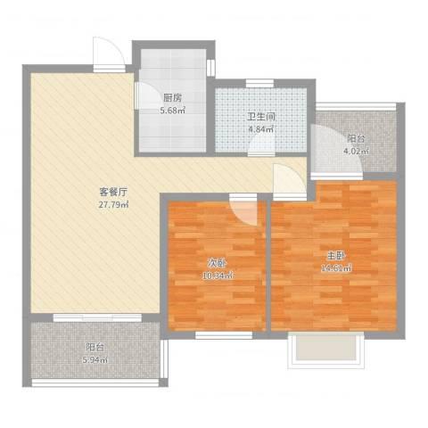 莱蒙水榭阳光2室2厅1卫1厨92.00㎡户型图
