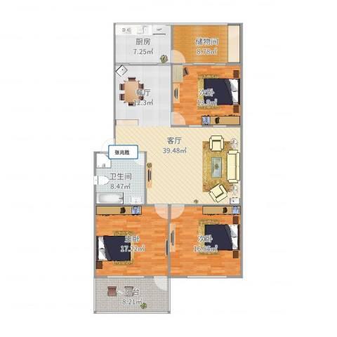 鑫达小区3室1厅1卫1厨150.00㎡户型图
