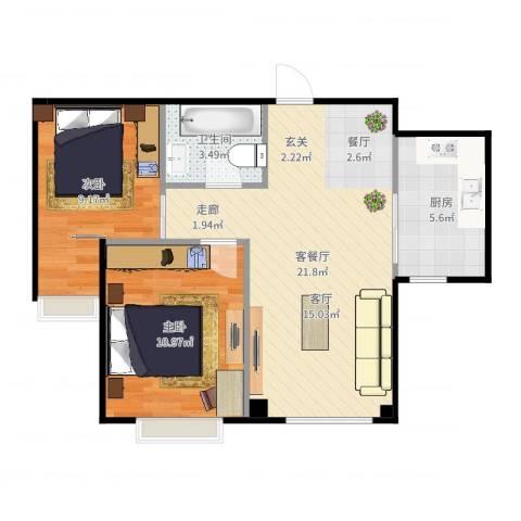 海天富地2室2厅1卫1厨64.00㎡户型图