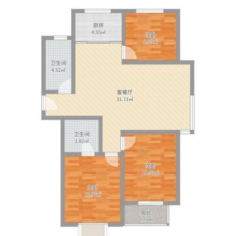 花香维也纳3室2厅2卫1厨101.00㎡户型图