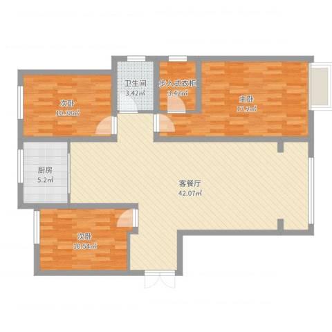 华北星城3室2厅1卫1厨115.00㎡户型图