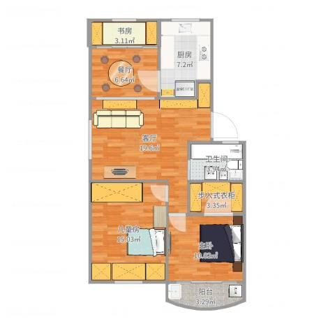 华光公寓3室2厅1卫1厨90.00㎡户型图