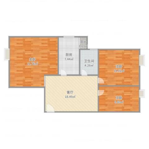 鸿业新天地3室1厅1卫1厨96.00㎡户型图