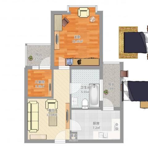 恒杰丁香花园2室1厅1卫1厨59.00㎡户型图