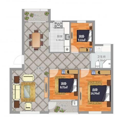 北岸琴森3室2厅1卫1厨108.00㎡户型图