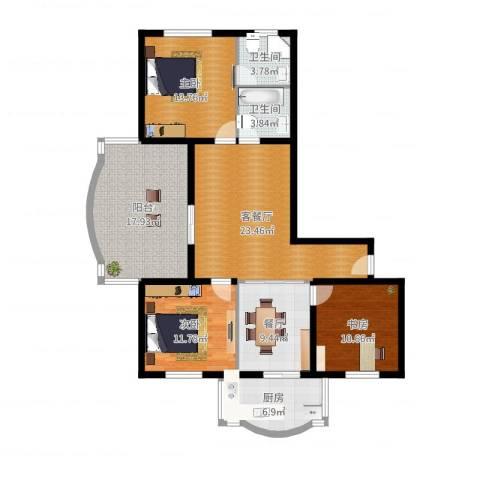 金裕青青家园3室3厅2卫1厨127.00㎡户型图