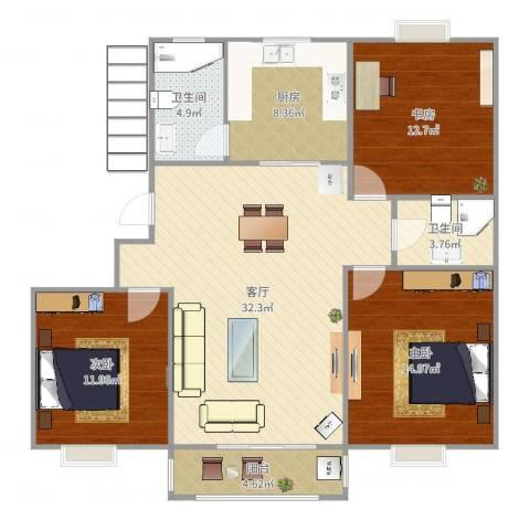 华亭新家百合苑3室1厅2卫1厨117.00㎡户型图