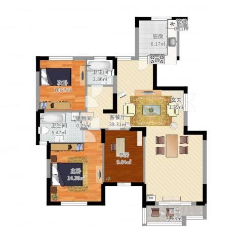 天鹅湖畔3室2厅2卫1厨129.00㎡户型图