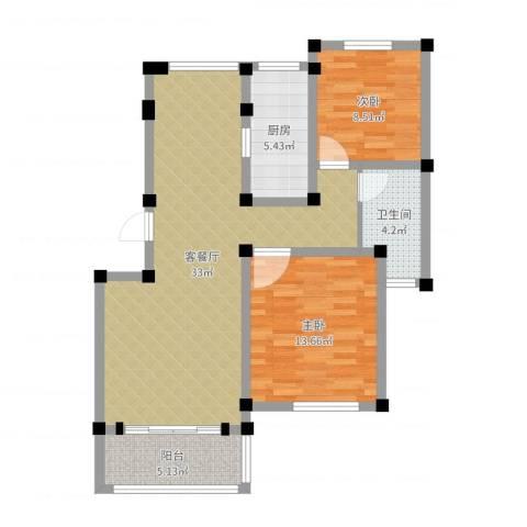 重汽翡翠东郡2室2厅1卫1厨87.00㎡户型图
