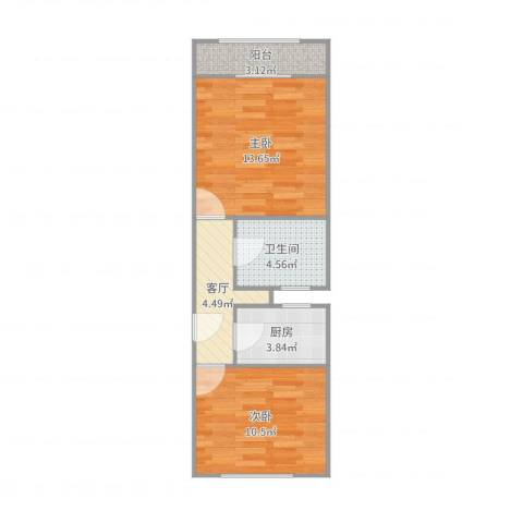 长虹小区2室1厅1卫1厨50.00㎡户型图
