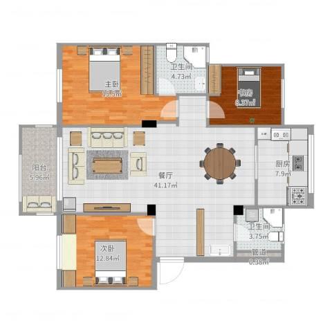 阳光美地3室1厅2卫1厨126.00㎡户型图