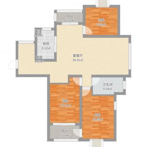 新城翡翠湾3室2厅1卫1厨104.00㎡户型图