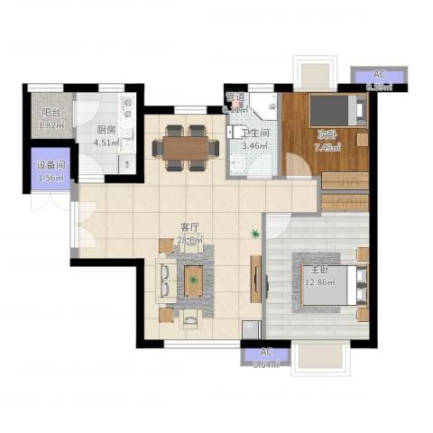 天津富力湾2室1厅1卫1厨77.00㎡户型图