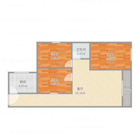 金祥都市花园3室1厅1卫1厨75.00㎡户型图