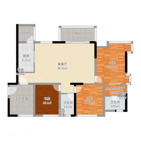 沁水丽庭3室2厅2卫1厨143.00㎡户型图