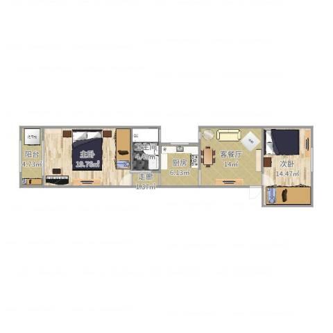 定西路1235弄小区2室2厅1卫1厨81.00㎡户型图