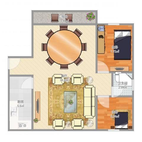 定西路1235弄小区2室1厅1卫1厨74.00㎡户型图