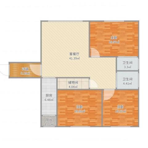 定西路1235弄小区3室2厅2卫1厨151.00㎡户型图