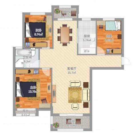 冠捷・观邸3室2厅1卫1厨105.00㎡户型图