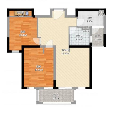 古北御庭2室2厅1卫1厨88.00㎡户型图