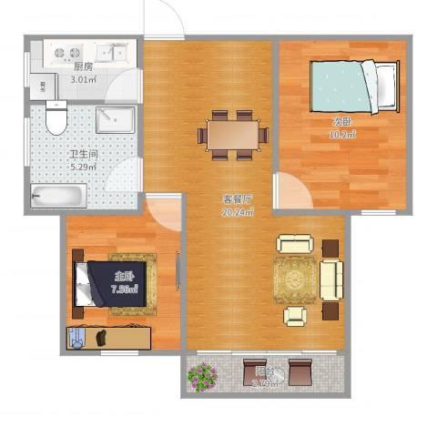 大家源新城2室2厅1卫1厨61.00㎡户型图